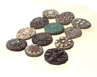 12 Ceramic Pendants Rustic Ancient Stoneware Fantasy Mix Magical Tribal Ethnic Celtic Mystical Metaphysical Textured Blue Patina White Brown