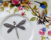 CLOSEOUT SALE Antique Silver (2 Pieces) Dragonfly Stamping - Jewelry Findings (FA-6092)