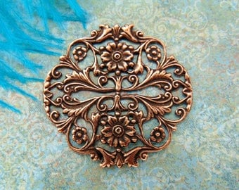 ANTIQUE COPPER * Round Floral Filigree Crest Flower Stamping ~ Jewelry Ornamental Finding (FB-6107)
