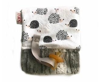 Grey Ombre Hedgehog Binky Minky Blanket, lovey, minky lovey, boy lovey