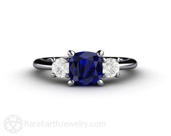 Cushion Blue Sapphire Engagement Ring 3 Stone Three Stone Forever One Moissanite 14K or 18K Gold or Platinum