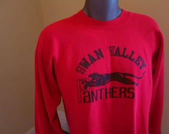 Vintage Panther Sweatshirt Distressed 70s Red Sweatshirt Black Panther simple print Swan Valley 70s pullover Faded vintage sweatshirt L XL