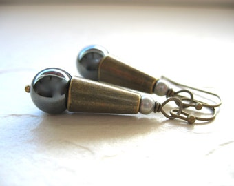 Hematite Earrings, Hematite Stone Brass Cone Dangle Drop Earrings, Handmade Metalwork Stone Earrings Jewelry