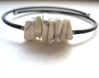 Howlite Bracelet, White Howlite Stone Cuff Bracelet, Handmade Jewelry, Stone Bracelet