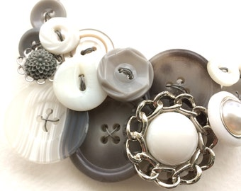 Long White and Gray Upcycled Vintage Button Necklace