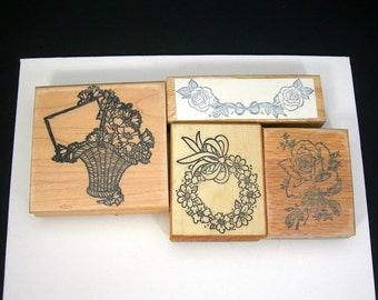 Lot of 4 Rubber Stamps, Flower Basket, Wreath, Roses, Crafting, Scrapbooking, Printing