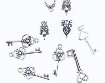 Sterling silver bails and Keys