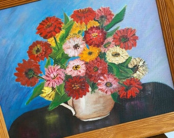 Hand Picked... Vintage Handmade Handpainted Framed Zinnia Painting Picture Artwork Home Decor