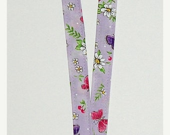SALE - Daisies and Butterflies Lanyard (Ready To Ship)