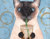 Siamese Cat with Iced Coffee Original Cat Folk Art Watercolor Painting