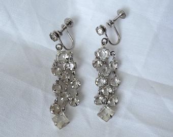 Vintage Crystal Chandelier Earrings  Silver Clear Rhinestone Glass Sparkle Evening Dressy