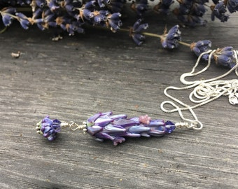 Blooming Lavender Glass Bead Pendant with Dangle Whorl