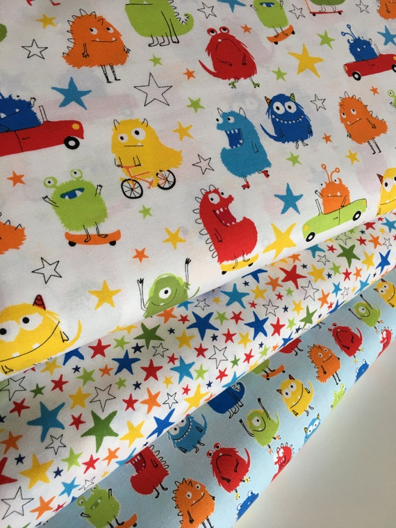 Monster fabric kids fabric baby fabric cute novelty for Kids fabric by the yard