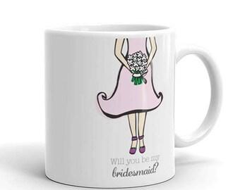 bridesmaid coffee cup, will you be my bridesmaid coffee mug, bridesmaid gift