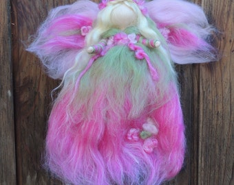 Needle felted the Sweet Platinum Fairy in Fuchsia - with touches soft green - Waldorf inspired  By Rebecca Varon