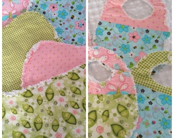 Baby Bibs and Burp, Spit Up Rags, Pea Pods, Pink, Green, Blue, Flannel, Ready to Ship
