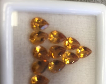 5x7mm Natural Genuine Pear Shape Cut Faceted Citrine Gemstones