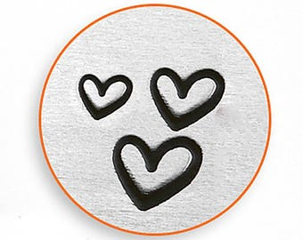 ImpressArt Metal Design Stamp, 3 Different Size Hearts Testure Design Jewelry Leather Wood PMC Metal