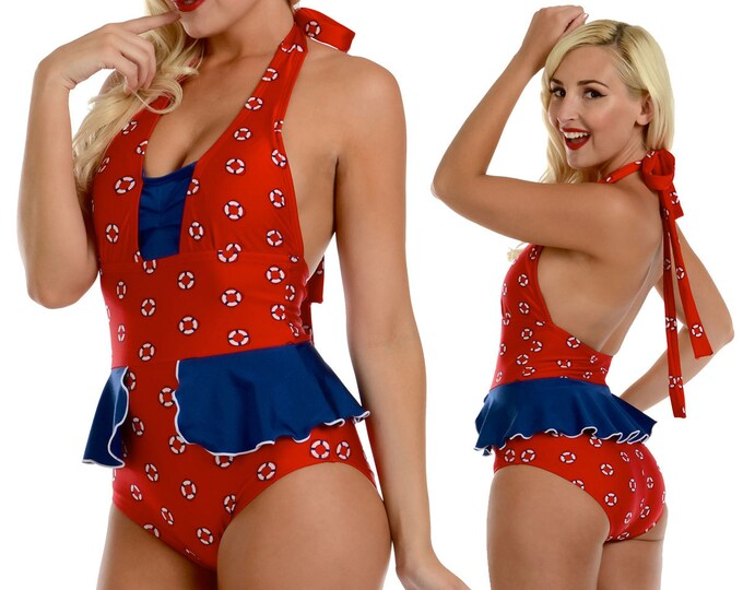 Mazie Peplum Halter Swimsuit in Red Life Ring Print XS ONLY