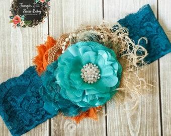 Teal, Burnt Orange, and Beige Vintage style headband