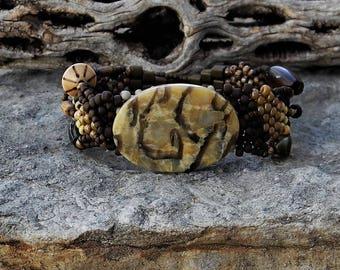 Jewelry - Free Form Peyote Stitch Beaded Bracelet  - Bead Weaving -   Graphic Feldspar Focal - BOHO