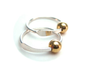 Silver and Gold Sleeper Hoops, Ear Hugger, Mini Hoops with Silver and Pink Gold or Yellow Gold Bead