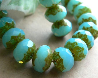 Aqua Blue Opalite Czech Glass Beads Rondell Picasso Milky 6x8mm (12)