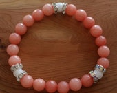 Natural Faceted Peach Malay Jade Rhinestones Bracelet handmade (HGB10819)- Wrist size up to 7 1/4 inches- Ship from Canada