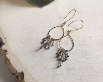 Unique Gold-Filled and Silver Tassel Earrings