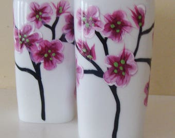Cherry Blossom Salt and Pepper Shakers, pink and white, trees, tree branches, Asian, pink cherry blossom tree, floral, housewarming gift