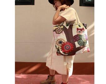 Owls prints Cotton Canvas Zipper Market Grocery Bag Tote Handbag (HB02)