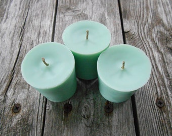 Sea Breeze-Soy Candles-Organic-Hemp Wick Soy Candles-Votives-Teal~Hemp