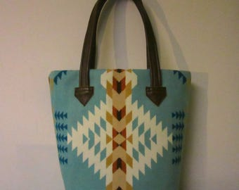 Bucket Bag Purse Tote Bag Wool Brown Leather 5 Pockets Southwest Aqua Blanket Wool from Pendleton Oregon