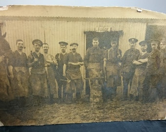 Antique Military Metal Smithing Forge Photograph Early 1900's Sepia on Board
