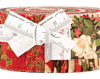"Moda MAGNOLIA METALLICS Jelly Roll 2.5"" Precut Fabric Quilting Cotton Strips 33240JRM"
