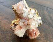 Dara Ettinger One of a kind Star Aragonite Free form  cocktail ring sz 7