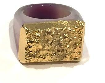 Dara Ettinger JILL Druzy Ring in Purple/Gold sz 7