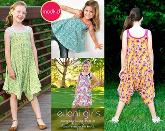 Leilani Girls Swing Top, Swing Dress, Harem Romper PDF Downloadable Pattern by MODKID... sizes 2T to 8/9 Girls included - Instant Download