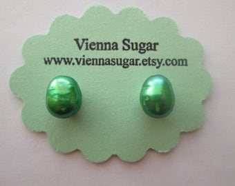 8 mm Green Genuine Freshwater Pearl Magnetic Earrings No Pierce Clip On Earrings
