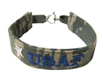 Air Force Name Tape Military Bracelet, Air Force Camo Bracelet, Custom Air Force Jewelry, Air Force Gifts