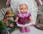 Crochet Dress Full Skirt Ruffles Victorian Bonnet Booties for 4.25 inch Vintage Irwin 50's doll  White Purple Lavender Green