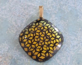 Orange Brown Dichroic Necklace, Fused Glass Pendant, Geometric, Omega Slide, Large Gold Bail, Fused Glass Jewelry - Bronze Lady