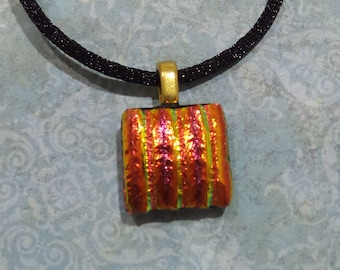 Small Orange and Gold Dichroic Necklace, Fused Glass Jewelry, Striped Dichroic Fused Glass Pendant, Ready to Ship - Margo -7