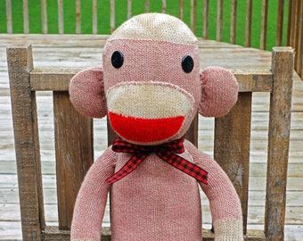 Sock Monkey Doll - Pink Vintage Style Stained Sock Monkey - Handmade in Rockford, Illinois