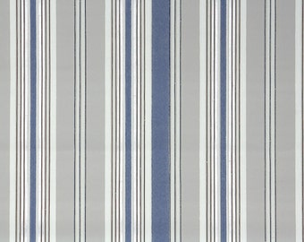 1940s Vintage Wallpaper by the Yard - Blue and Gray Stripe
