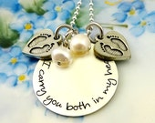 Twins Remembrance Necklace - I Carry You Both In My Heart - Loss MisCarriage - Memorial  Sterling Silver Jewelry