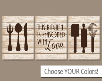 KITCHEN Wall Art, CANVAS or Prints, Kitchen PICTURES, Utensils Quote Artwork, Seasoned with Love, Set of 3 Housewarming Gift, Home Decor