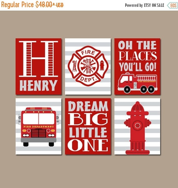 FIRE TRUCK Wall Art Canvas Or Prints Baby Boy Nursery By TRMdesign