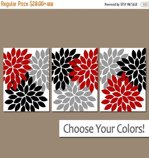 Red Black And Gray Wall Decor : Red black gray wall art bedroom pictures by