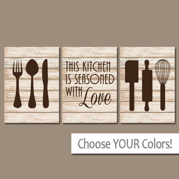 Kitchen wall art canvas or prints kitchen pictures utensils - Kitchen canvas wall decor ...